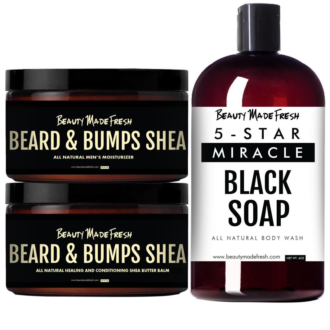 Men's Beard & Bumps Shea Butter Grooming Bundle